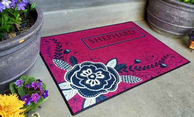 Personalized Medium Door Mats - Corner Flower Design -  - Qualtry