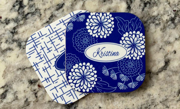 Personalized Floral Coasters - Set of 2 -  - Qualtry
