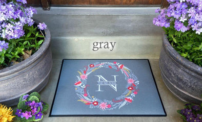 Personalized Medium Door Mats - Floral Wreath Design -  - Qualtry