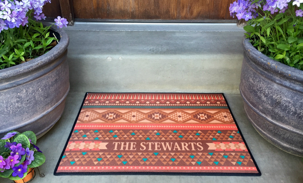 Personalized Medium Door Mats - Southwest Design -  - Qualtry