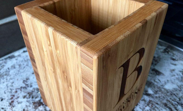 Personalized Bamboo Kitchen Utensil Holder -  - Qualtry