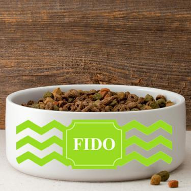 Personalized Large Dog Bowl - Cheerful Chevron - Green
