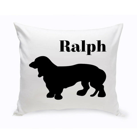 Monogrammed Dog Throw Pillow -  Classic Silhouette - BassetHound1 - Pet Gifts - AGiftPersonalized