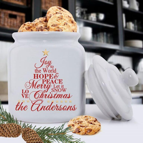 Personalized Holiday Cookie Jars - Joy -
