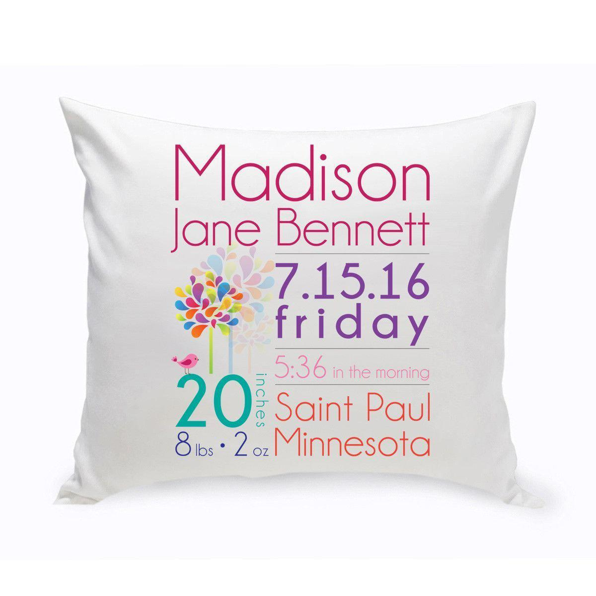 Personalized Baby Girl Announcement Throw Pillows