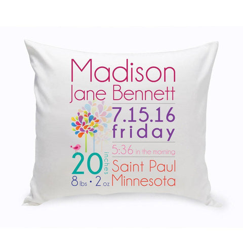 Personalized Baby Girl Announcement Throw Pillow -