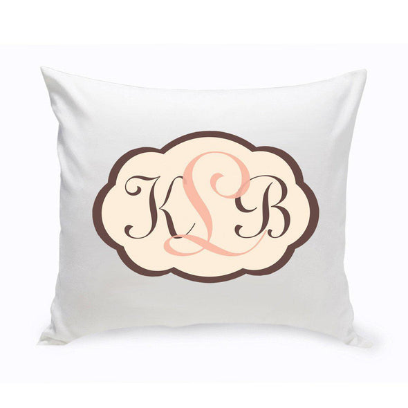 Personalized Monogrammed Baby Pink and Brown Chevron Throw Pillow -  - A Gift Personalized