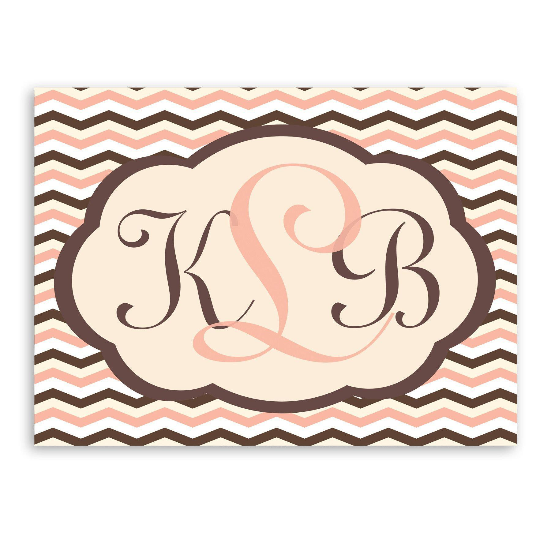 Personalized Baby Pink and Brown Chevron Sign