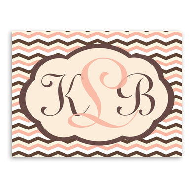 Personalized Baby Pink and Brown Chevron Canvas Sign -  - JDS