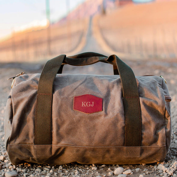 Personalized Waxed Canvas Field Tan Duffle Bag - Gold - JDS
