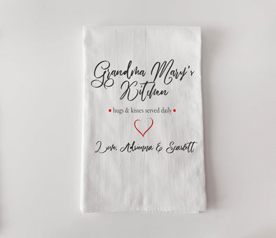 Personalized Tea Towel - Flour Sack - Served Daily -  - AGiftPersonalized