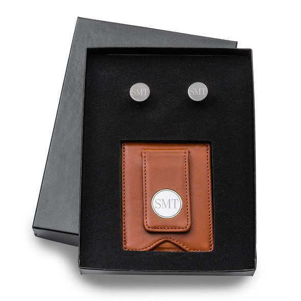 Personalized Brown Leather Wallet/Money Clip & Gunmetal Cufflinks Gift Set -  - JDS