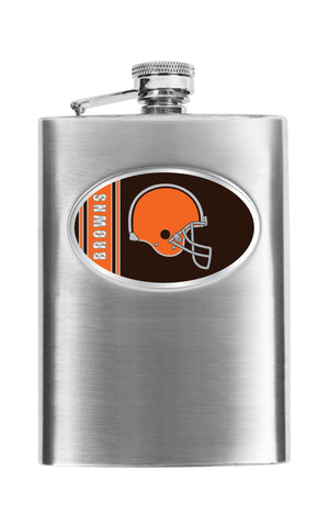 Personalized Flask - NFL Team Flask - Stainless Steel - Browns - Professional Sports Gifts - AGiftPersonalized