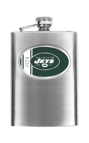Personalized Flask - NFL Team Flask - Stainless Steel - Jets - Professional Sports Gifts - AGiftPersonalized