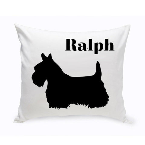 Monogrammed Dog Throw Pillow -  Classic Silhouette - Schnauzer - Pet Gifts - AGiftPersonalized