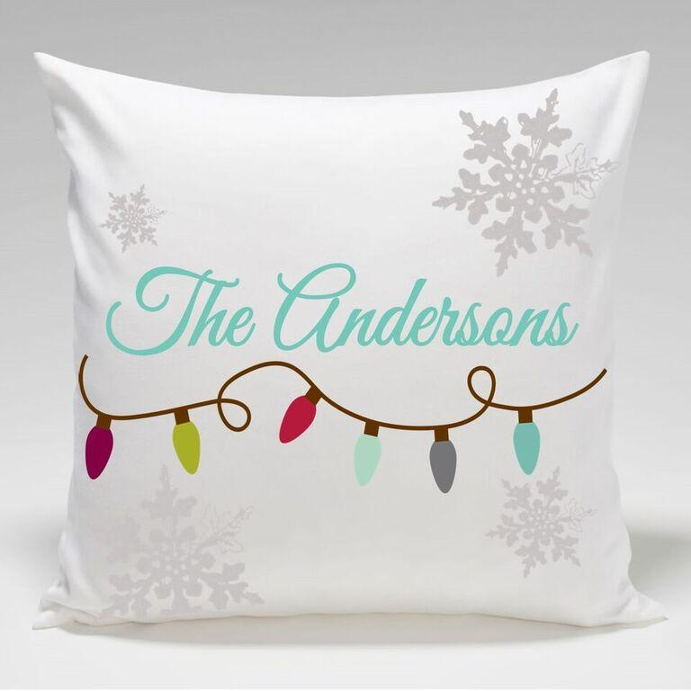 Personalized Christmas Lights Holiday Throw Pillows