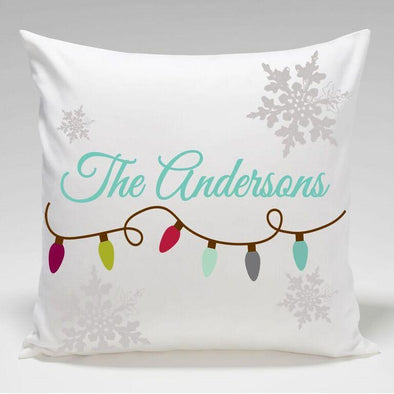 Personalized Christmas Lights Holiday Throw Pillows -  - JDS