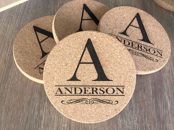 Personalized Thick Cork Coasters – Set of 4! – 6 Amazing Designs! -  - Qualtry