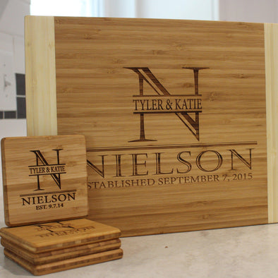 Personalized 11 x 14 Bamboo Cutting Board & Set of 4 Bamboo Coasters -  - Qualtry