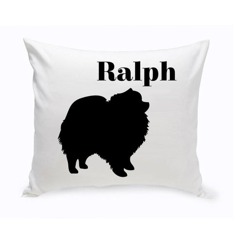Monogrammed Dog Throw Pillow -  Classic Silhouette - Pomeranian - Pet Gifts - AGiftPersonalized