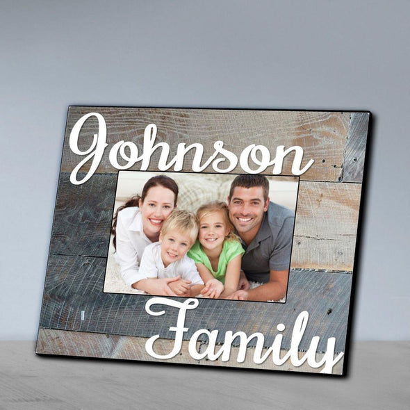 Personalized Family Wood Grain Picture Frame - Grey - JDS