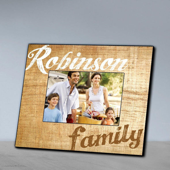 Personalized Family Wood Grain Picture Frame - Brown - JDS