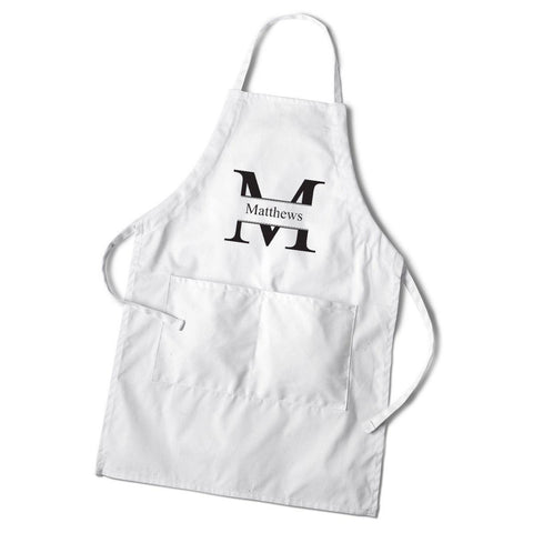 Personalized Men's White Apron -  - Gifts for Him - AGiftPersonalized