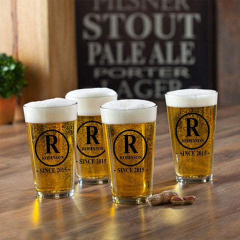 Personalized Pint Glasses - Set of 4 - Groomsmen Gifts - Initial - Personalized Barware - AGiftPersonalized