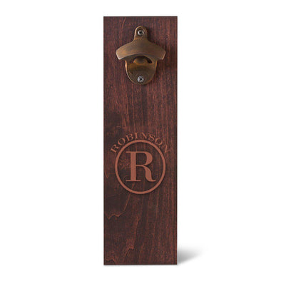 Personalized Wood Wall Mounted Bottle Opener - Circle - JDS