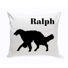 Monogrammed Dog Throw Pillow -  Classic Silhouette - SilkenWindhound - Pet Gifts - AGiftPersonalized