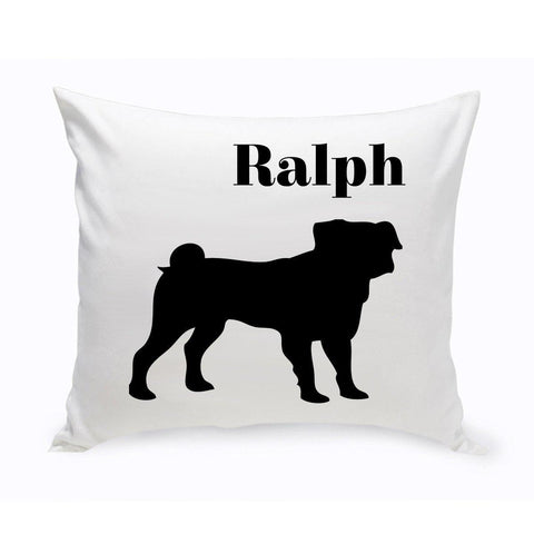 Monogrammed Dog Throw Pillow -  Classic Silhouette - Pug - Pet Gifts - AGiftPersonalized