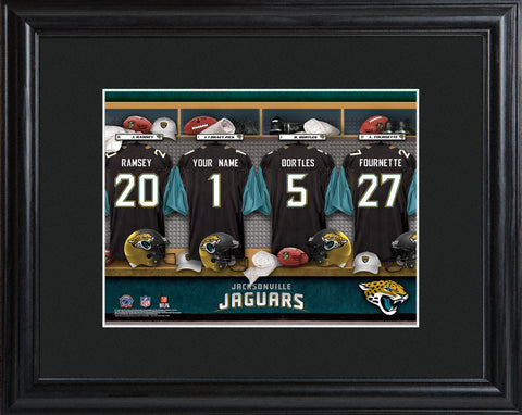 Personalized NFL Locker Sign w/Matted Frame - All Teams - Jaguars - Professional Sports Gifts - AGiftPersonalized