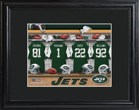Personalized NFL Locker Sign w/Matted Frame - All Teams - Jets - Professional Sports Gifts - AGiftPersonalized