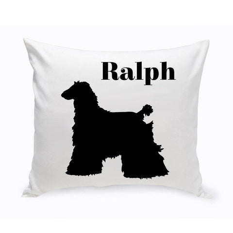 Monogrammed Dog Throw Pillow -  Classic Silhouette - AghanHound - Pet Gifts - AGiftPersonalized