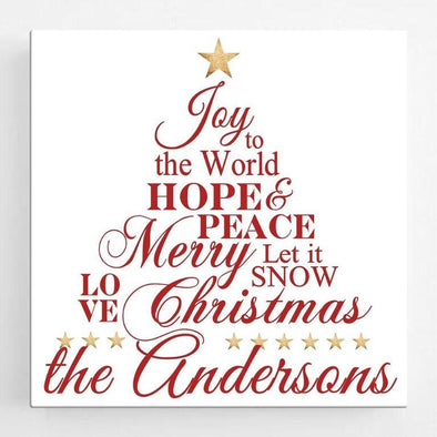 Personalized Joy to the World Christmas Canvas Sign -  - JDS
