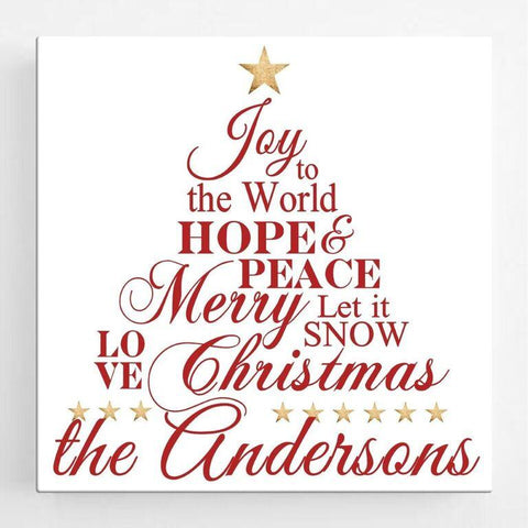 Personalized Christmas Canvas Sign - Joy to the World -  - Canvas Prints - AGiftPersonalized