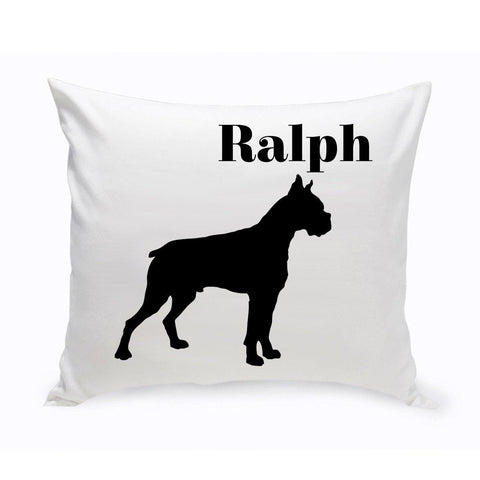 Monogrammed Dog Throw Pillow -  Classic Silhouette - Boxer - Pet Gifts - AGiftPersonalized