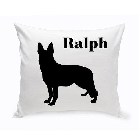 Monogrammed Dog Throw Pillow -  Classic Silhouette - GermanShepherd - Pet Gifts - AGiftPersonalized