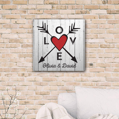 Personalized Love Arrows Canvas Print -  - JDS