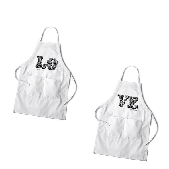 Personalized Couples White Apron Set - Love - JDS