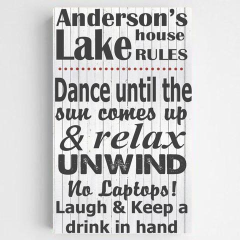 Personalized Lake House/Cabin Rules Canvas Sign - Black - JDS
