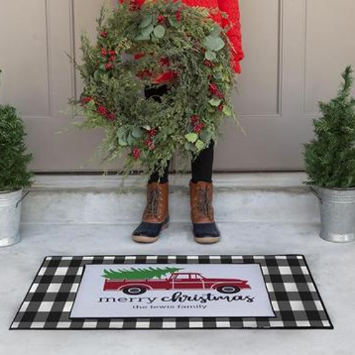 Personalized Layered Christmas Doormat Sets