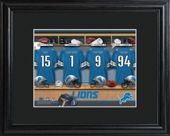 Personalized NFL Locker Sign w/Matted Frame - All Teams - Lions - JDS