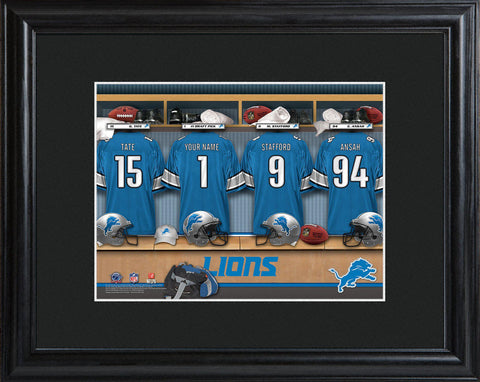 Personalized NFL Family Cheer Print & Frame  - Lions - Professional Sports Gifts