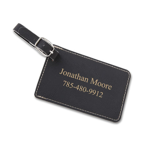 Personalized Leatherette Luggage Tags - Black - Travel Gear - AGiftPersonalized