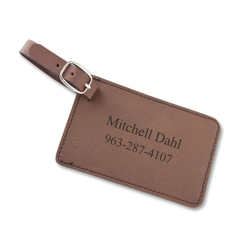 Personalized Leatherette Luggage Tags - Brown - Travel Gear - AGiftPersonalized