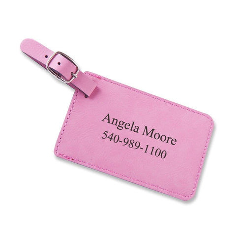 Personalized Leatherette Luggage Tags - Pink - Travel Gear - AGiftPersonalized