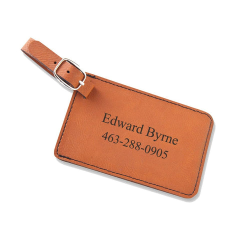 Personalized Leatherette Luggage Tags - Rawhide - Travel Gear - AGiftPersonalized