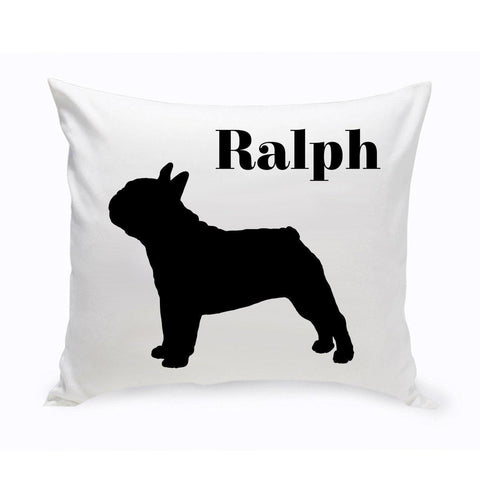 Monogrammed Dog Throw Pillow -  Classic Silhouette - FrenchBulldog - Pet Gifts - AGiftPersonalized