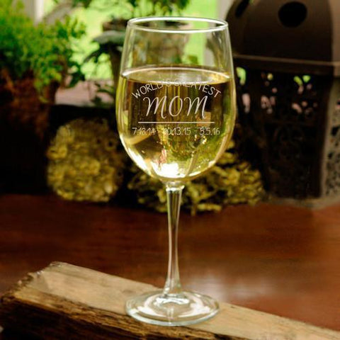 World's Greatest Mom White Wine Glass -  - Wine Gifts & Accessories - AGiftPersonalized